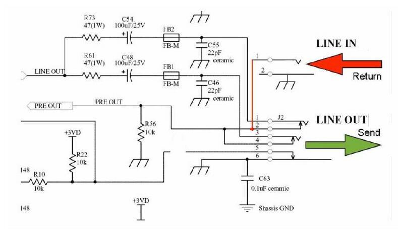 Schaltung für einen Send-/Return-Weg im VOX VT-50 Amp